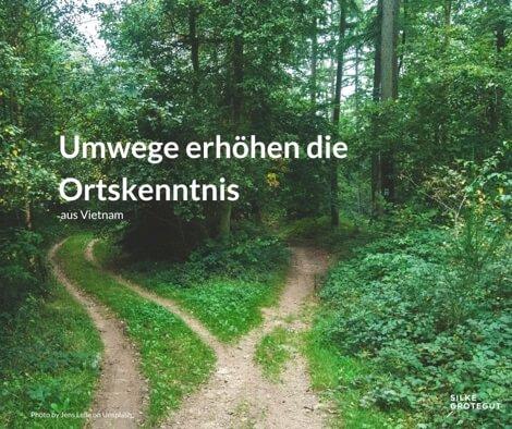 Zwei Wege vereinen sich zu einem Weg im Wald